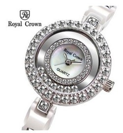 Ảnh số 42: Royal crown watches platinum white ceramic table diamond ladies watch 3837 - Giá: 1.820.000