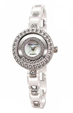 Ảnh số 43: Royal crown watches platinum white ceramic table diamond ladies watch 3837 - Giá: 1.820.000